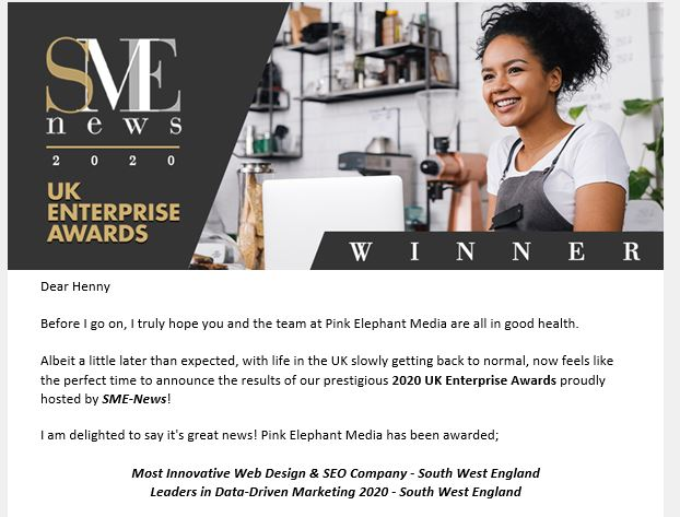 SME Business Awards Winner in not one but two categories!!